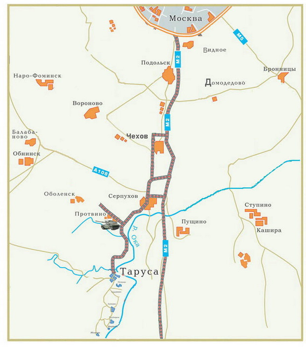 Схема проезда до тарусы