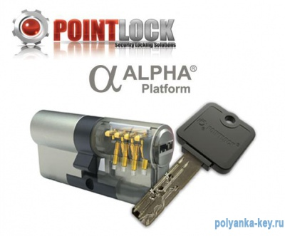 Pointlock Alpha кл/верт L60 30Т*30 gold цилиндр
